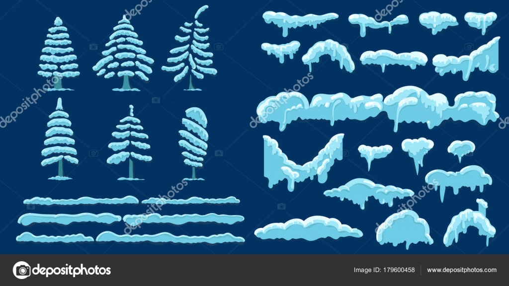 set of snow icicles and snow cap vector illustration template in