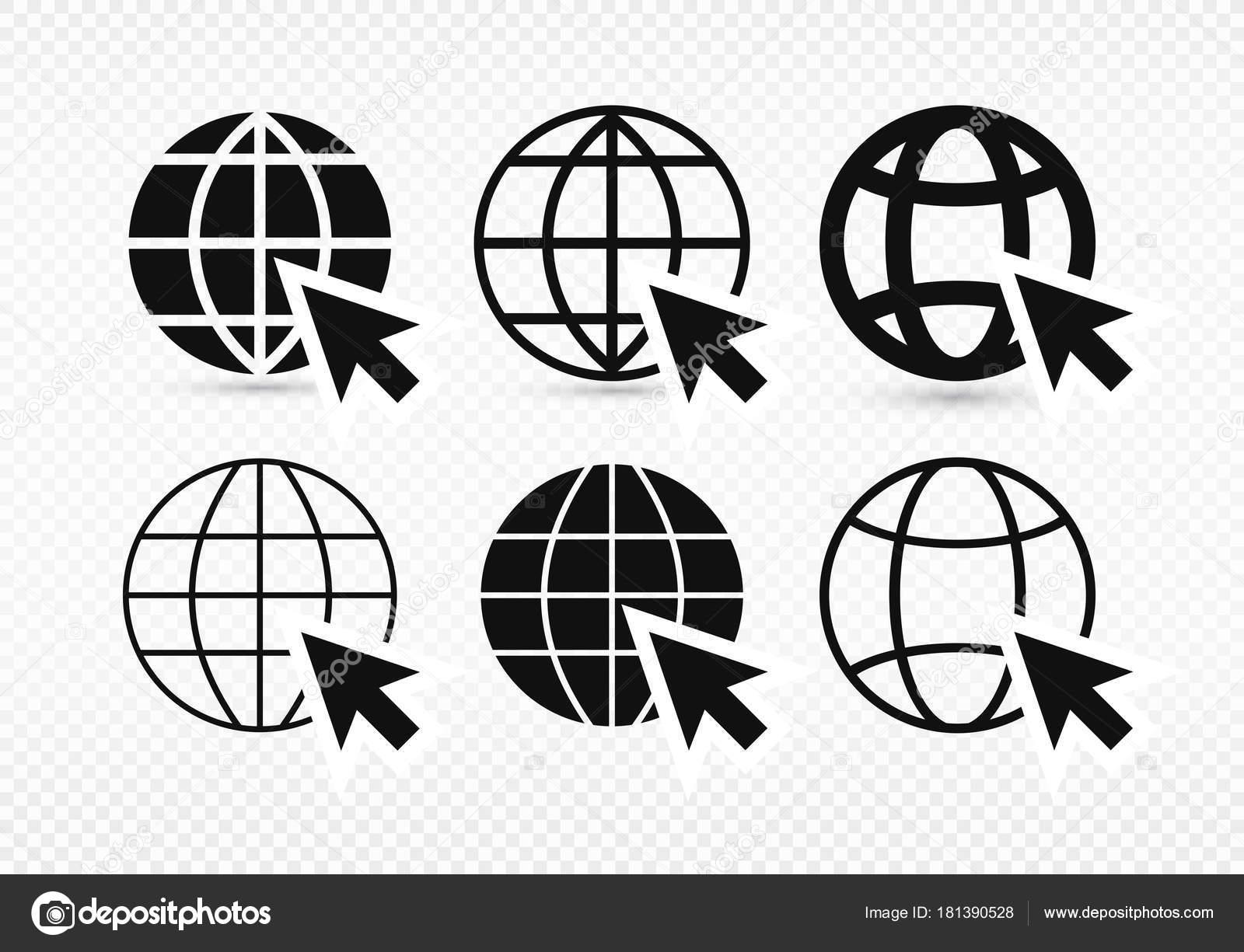 Set di vai a web icona in stile piatto alla moda isolato for Logo sito internet