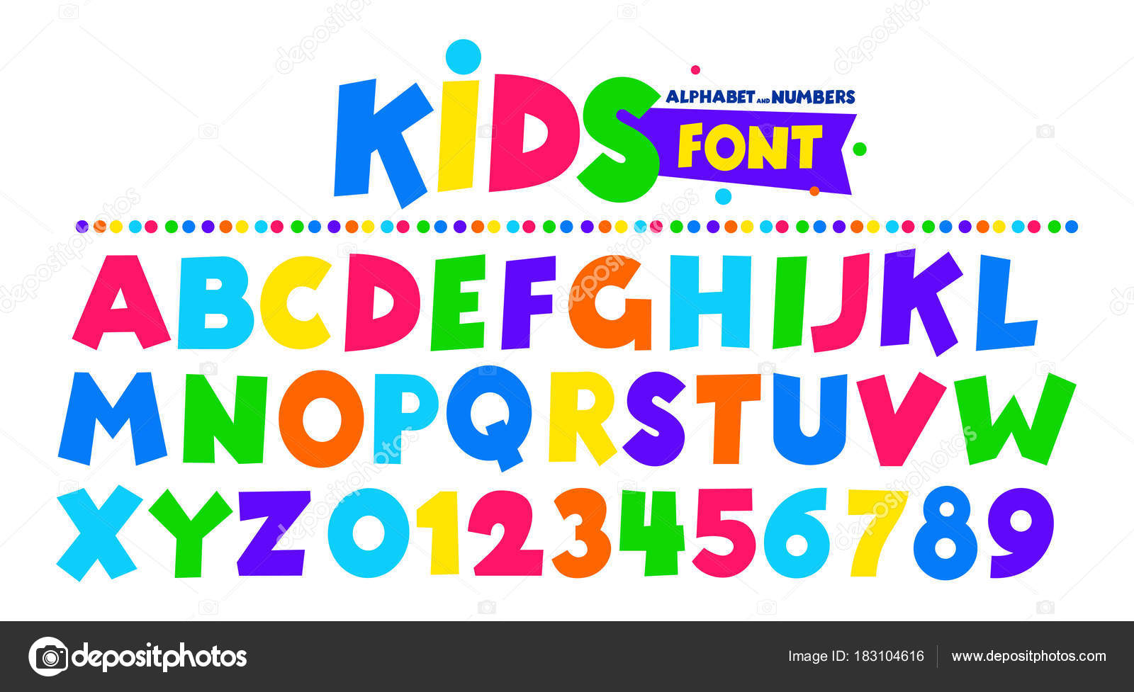 Kids font in the cartoon style, alphabet and numbers  Set of