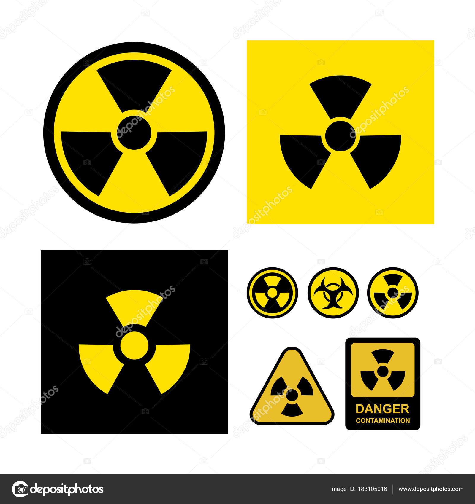 Set Of Radioactive Contamination Symbol Danger Contamination