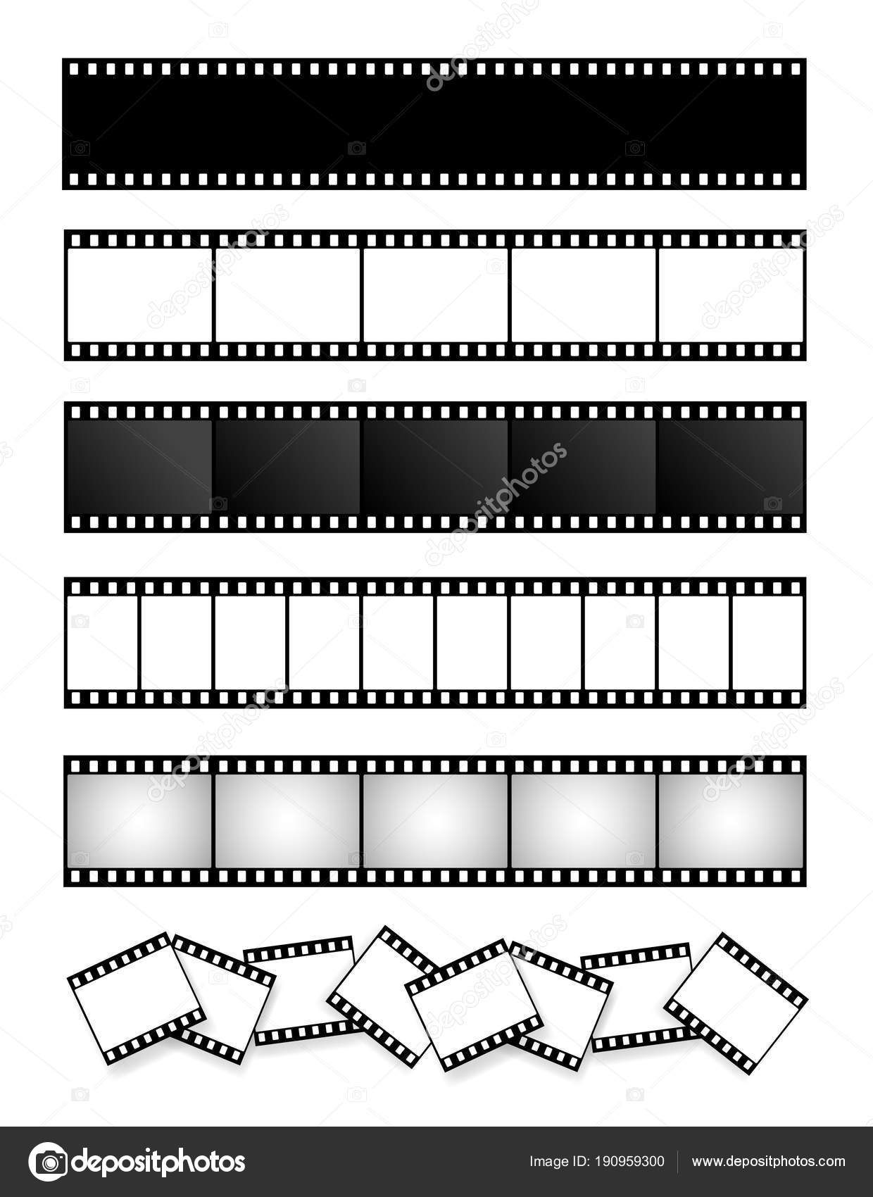 Collection of film strip, movie, photo. Vector template. Cinema ...
