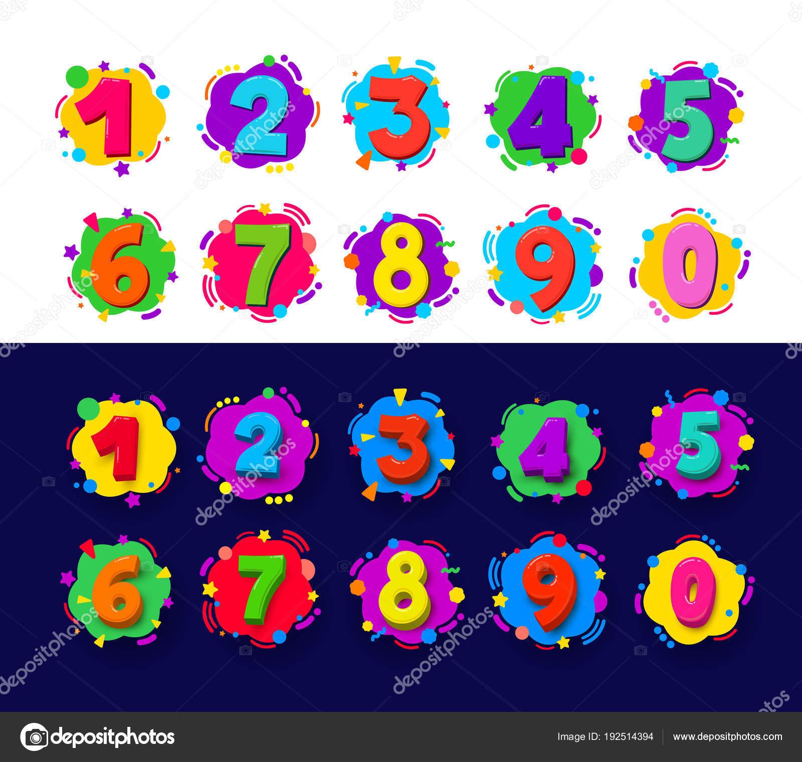 Figuras De Animales Animados A Color Conjunto De Numeros De Color