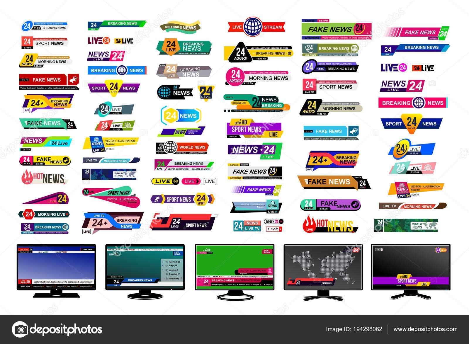 a85d825d5 Conjunto de barras de notícias da Tv. Projeto sinal de notícias ...