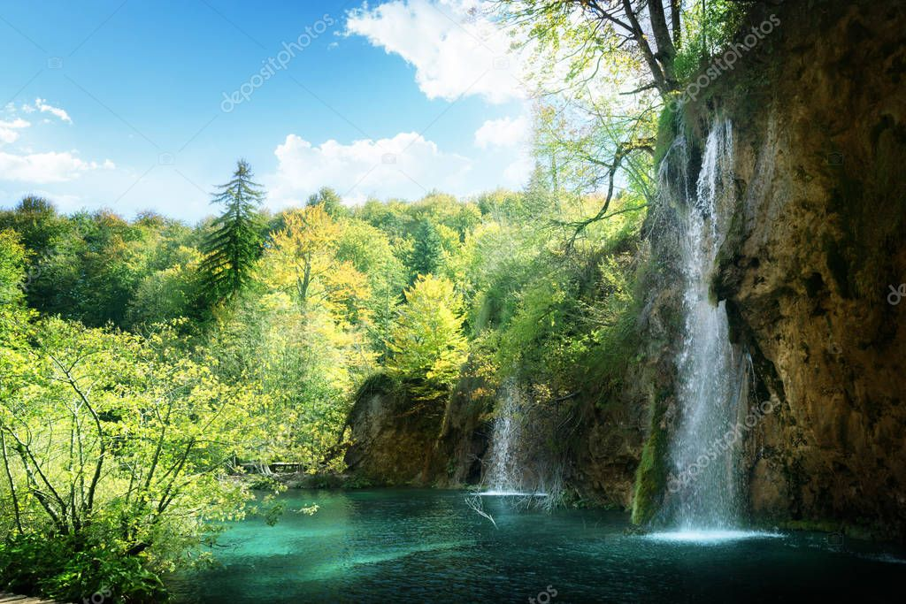 Фотообои Waterfall in forest,  Plitvice, Croatia