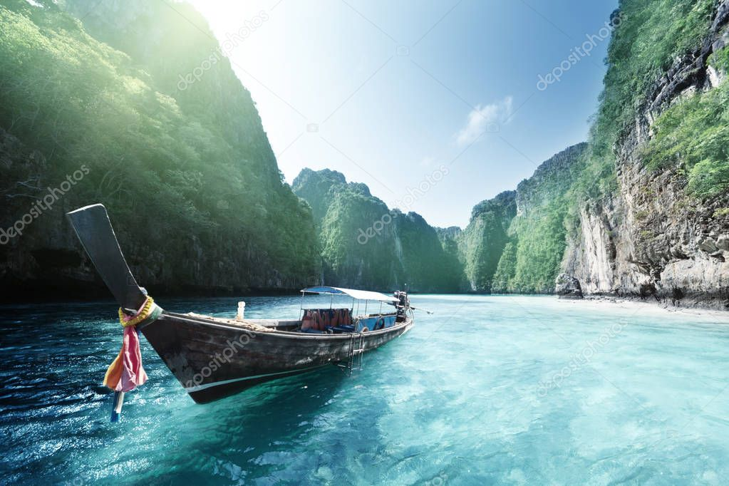 boat and beautiful sea, Phi Phi island, Thailand