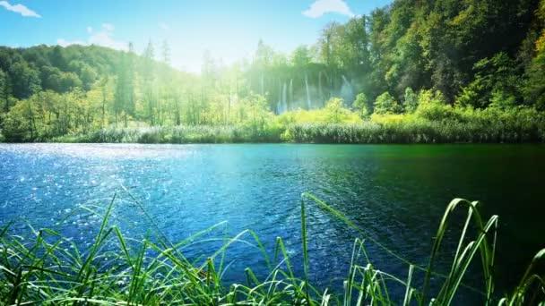 jezero v hlubokých lesích, plitvice, Chorvatsko