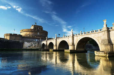 Saint Angel castle and bridge and Tiber river, Rome, Italy