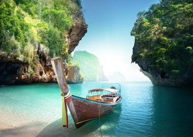 boat on the beach , Krabi province, Thailand