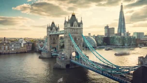 time lapse London skyline with Tower bridge, UK
