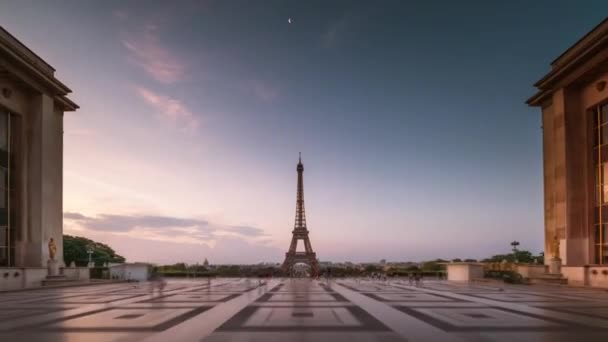 hyper lapse, sunrise of Eiffel tower from Trocadero. Paris, France