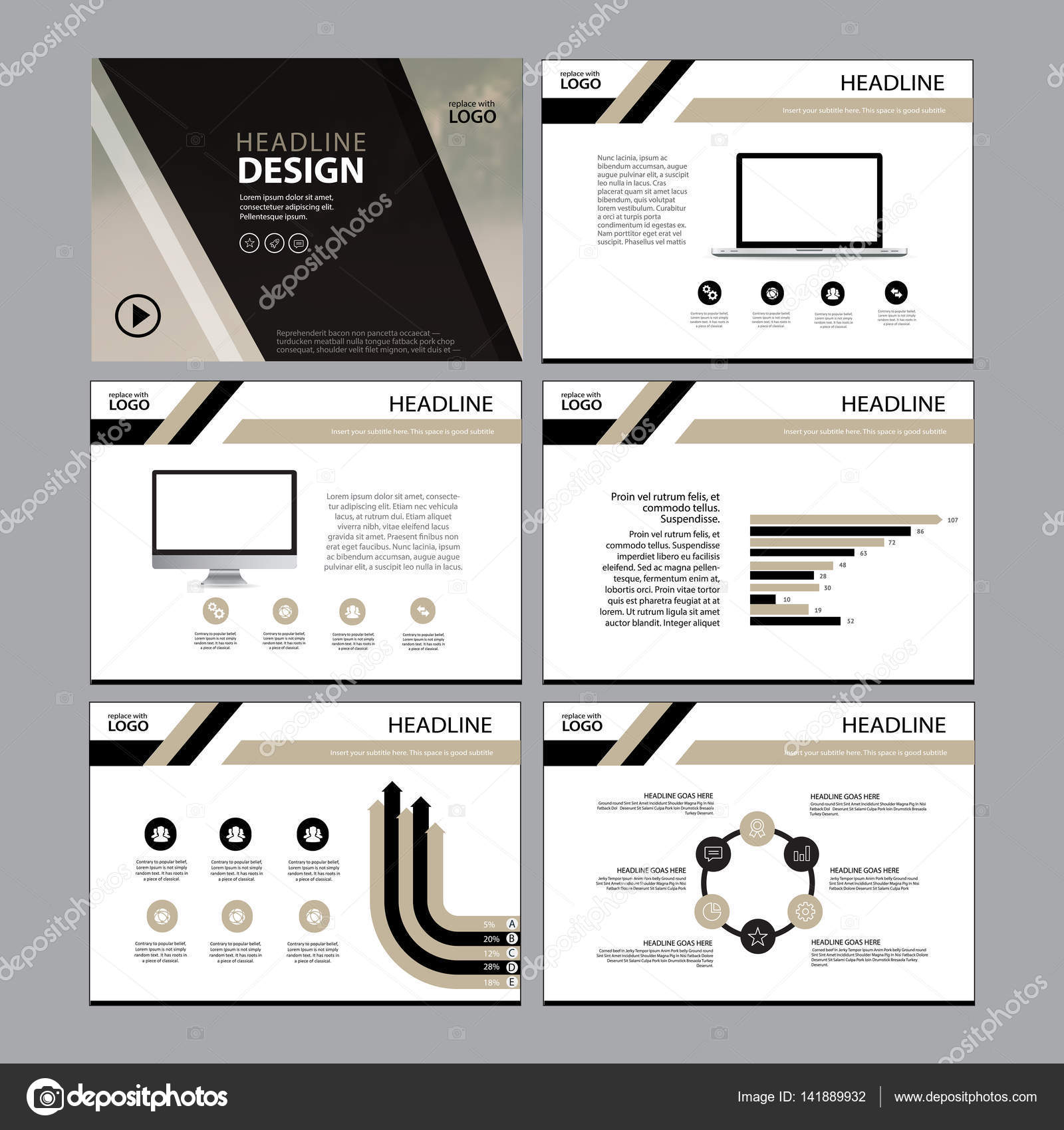 Multipurpose template for presentation slides with graphs and charts ...
