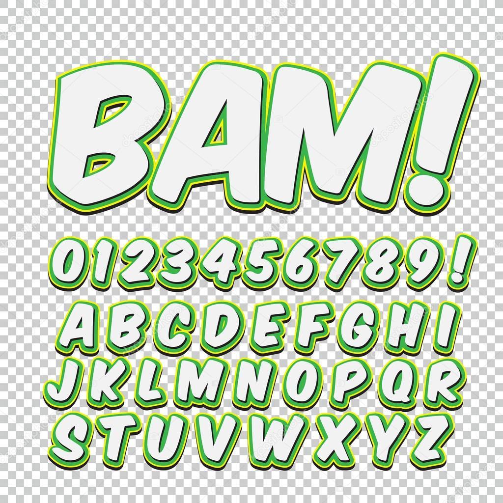 創造的な高い詳細コミック フォント。漫画、ポップアートのアルファベット。文字及び数字で子供の装飾のため — ストックイラストレーション