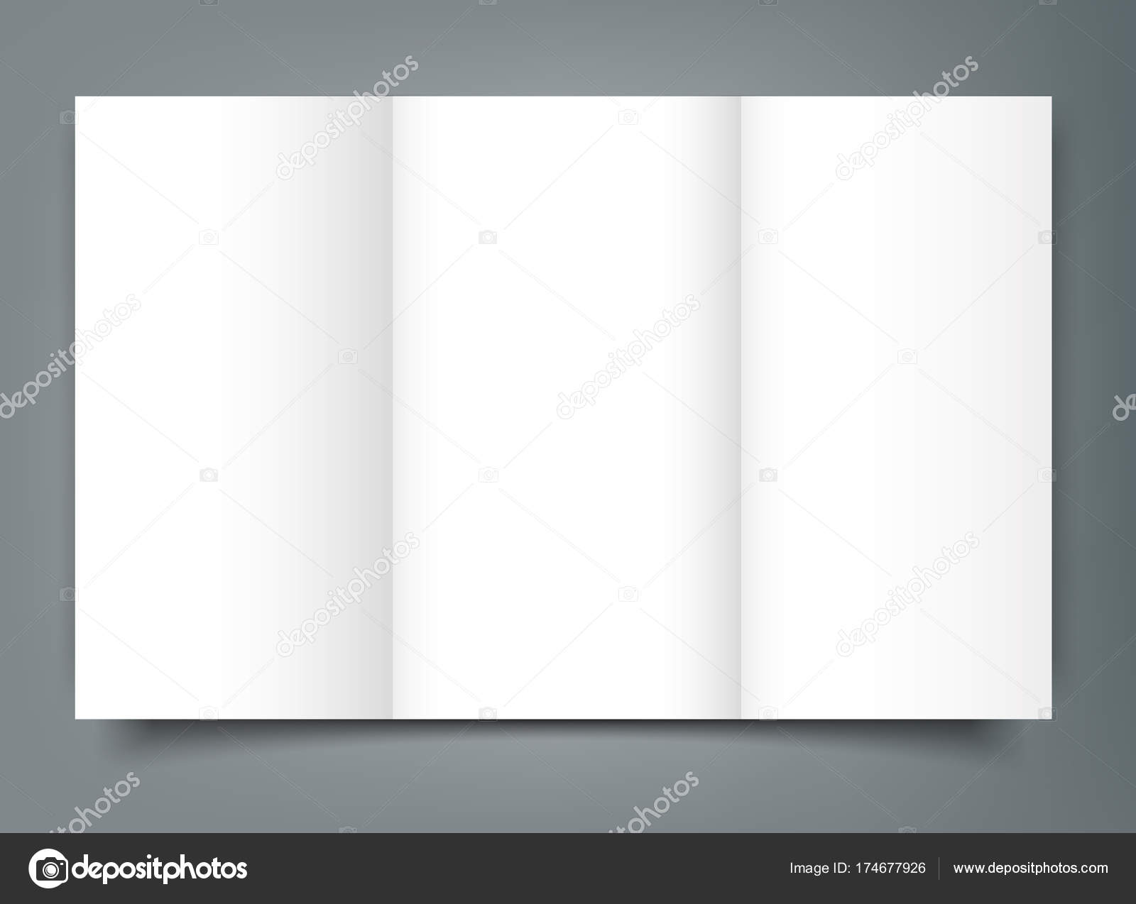 Blank Tri Fold Brochure Mockup Cover Template Isolated Stock