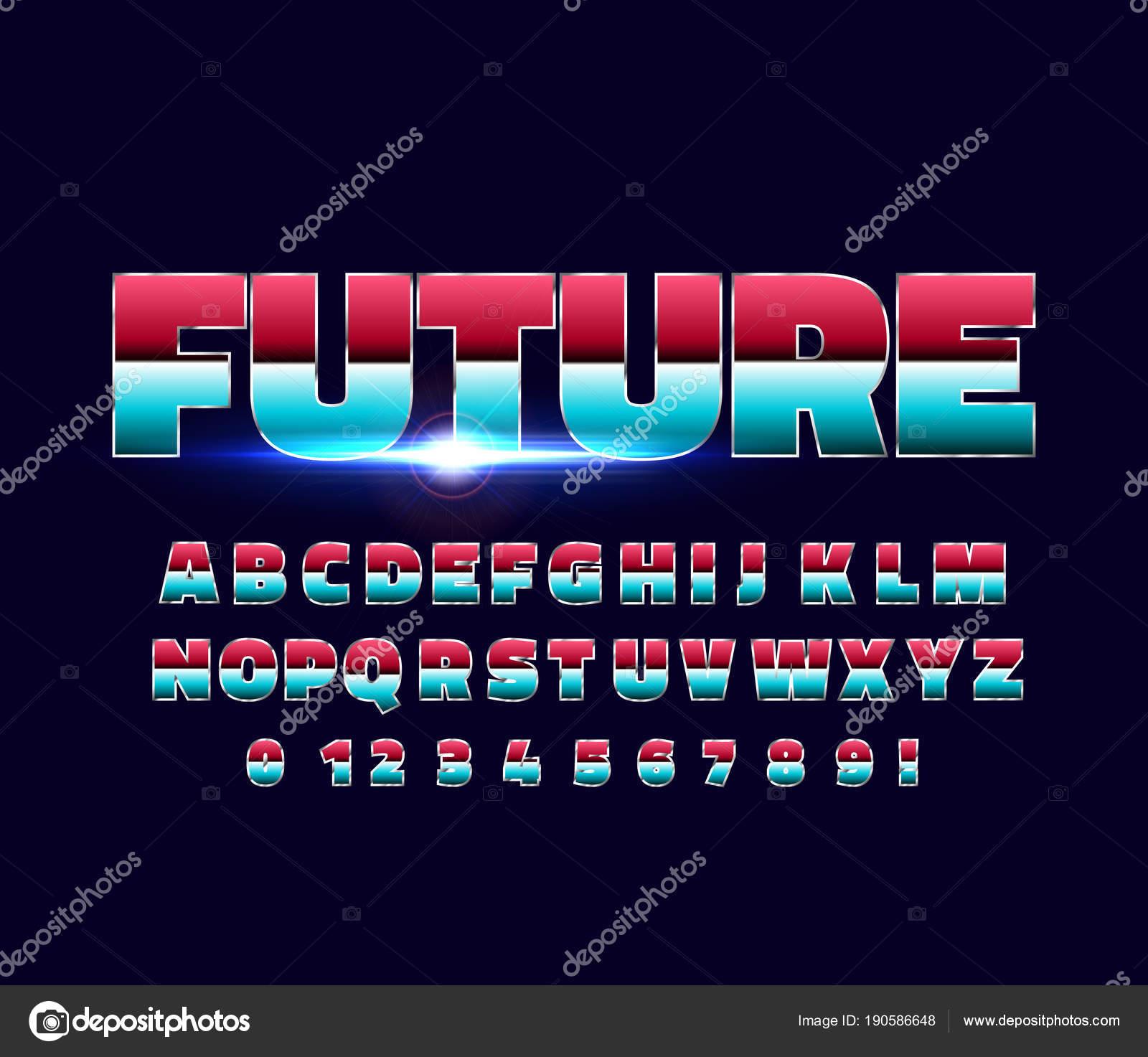 Shiny Chrome alphabet retro font  Sci-fi 80s future style  — Stock
