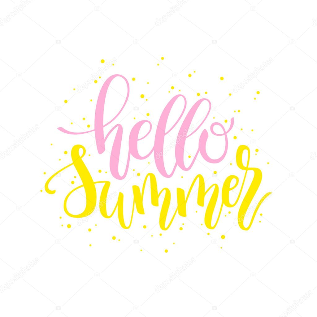 Hello Summer brush and ink hand lettering design element.