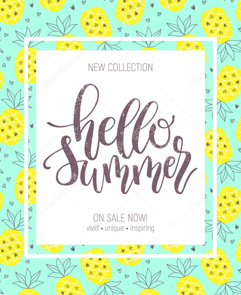 Hello Summer hand lettering poster on pineapple background