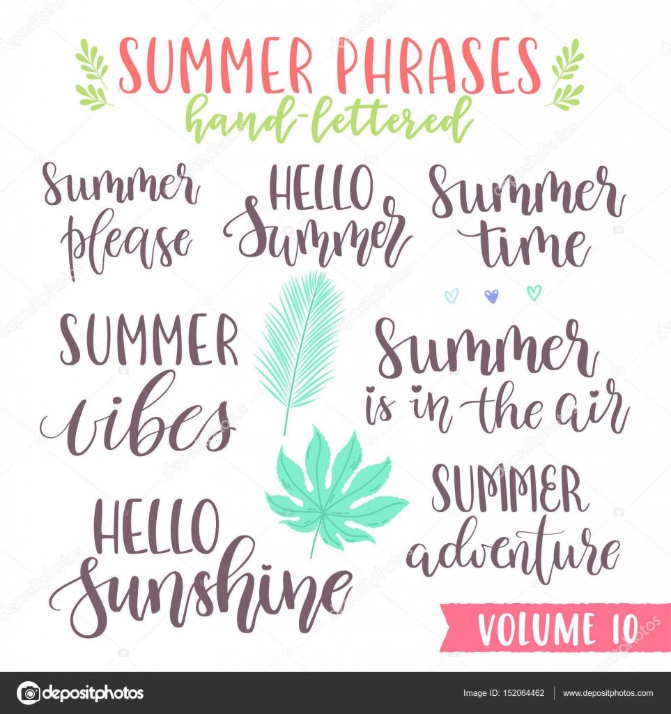Mano escrita frases de verano Letras — Vector de stock © Yuzach ...