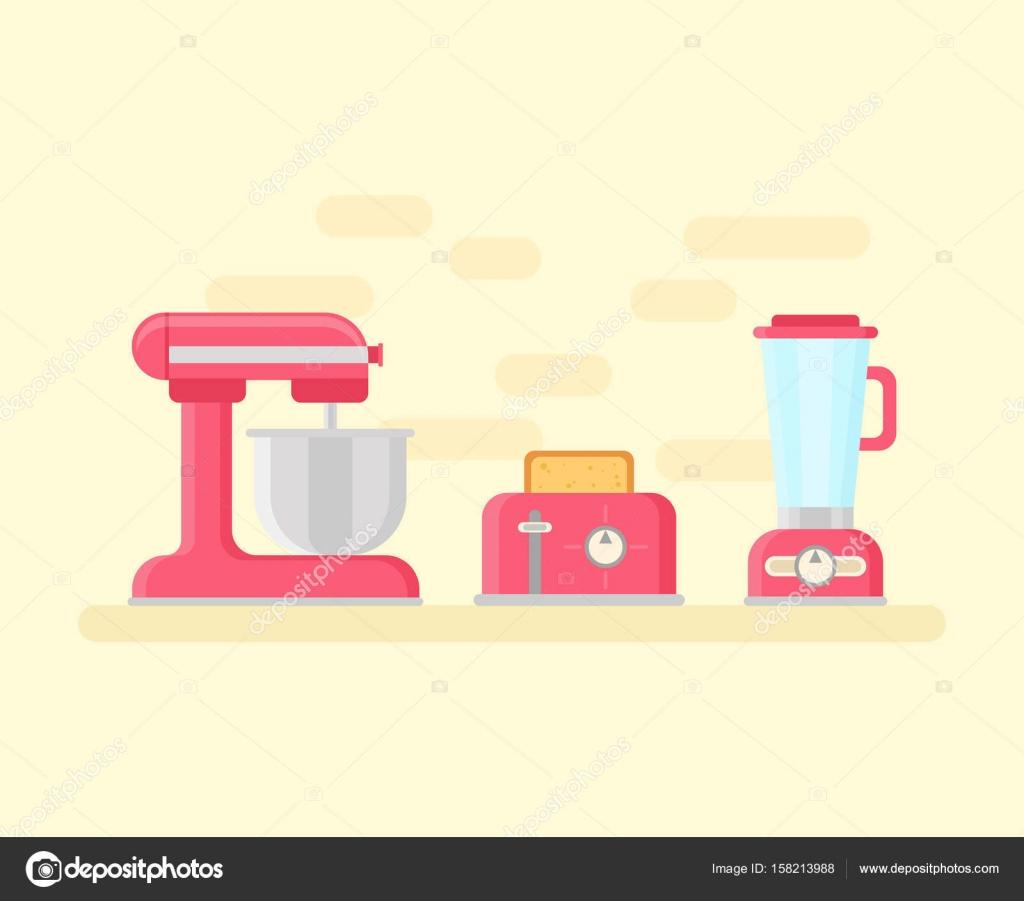 Retro-Küchengeräte in flachen Stil — Stockvektor © Yuzach #158213988
