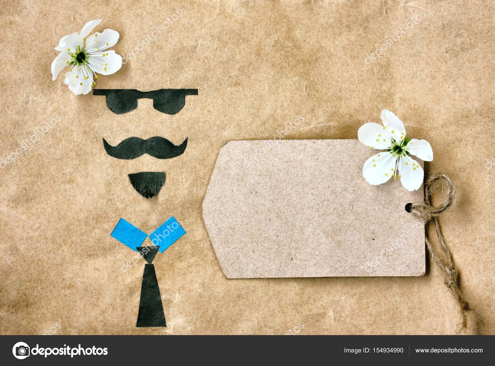 Cartolina d auguri applique viso con occhiali baffi e barba