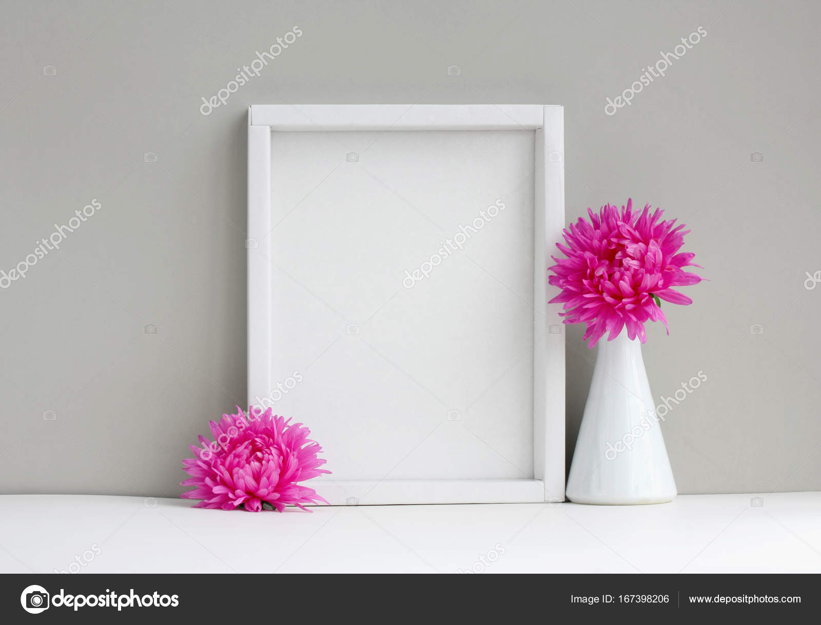 white frame mock-up, empty layout, vase with pink aster — Stock ...