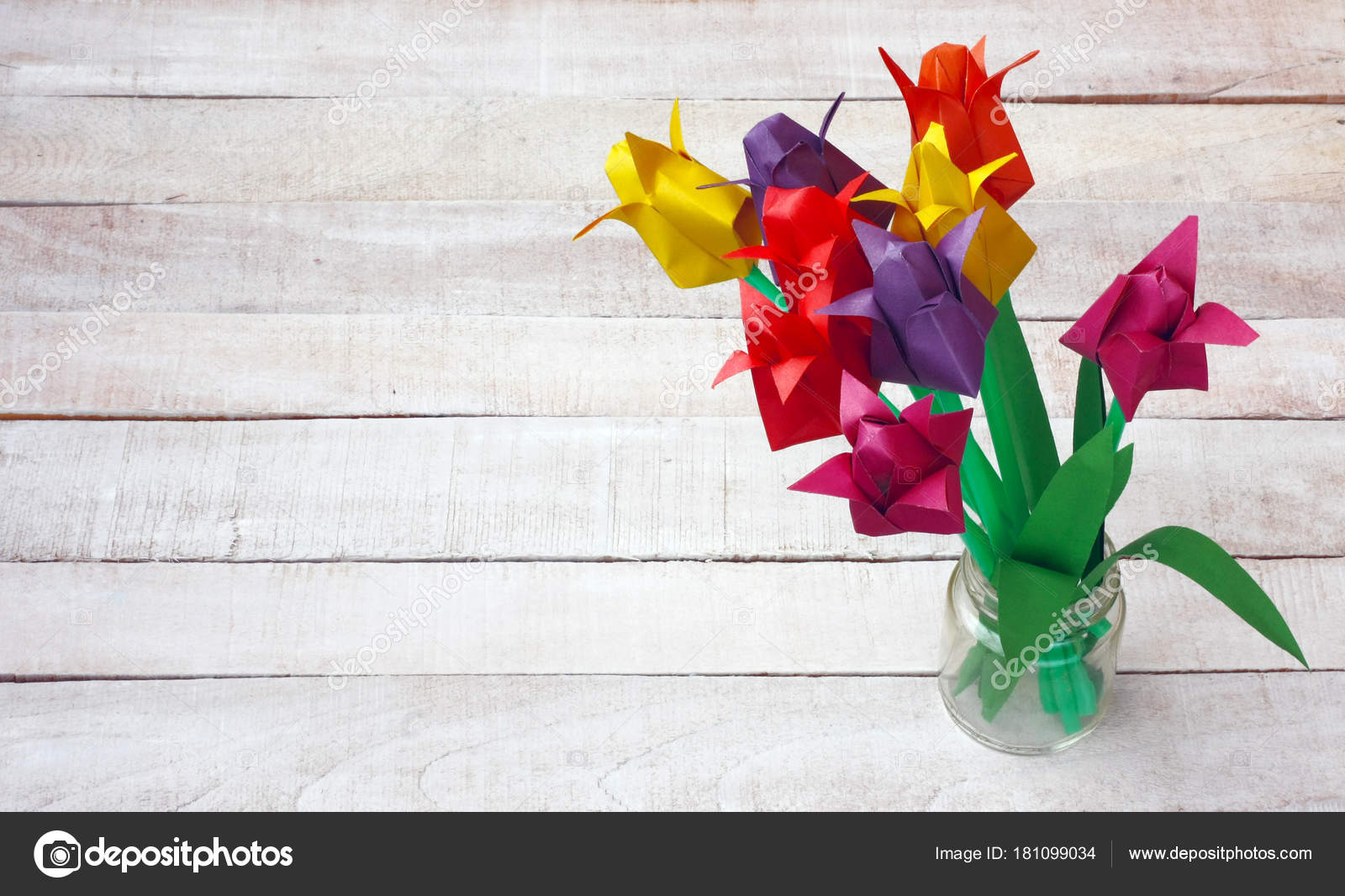 Colorful Origami Tulip Flowers Bouquet In Glass Vase Stock Photo