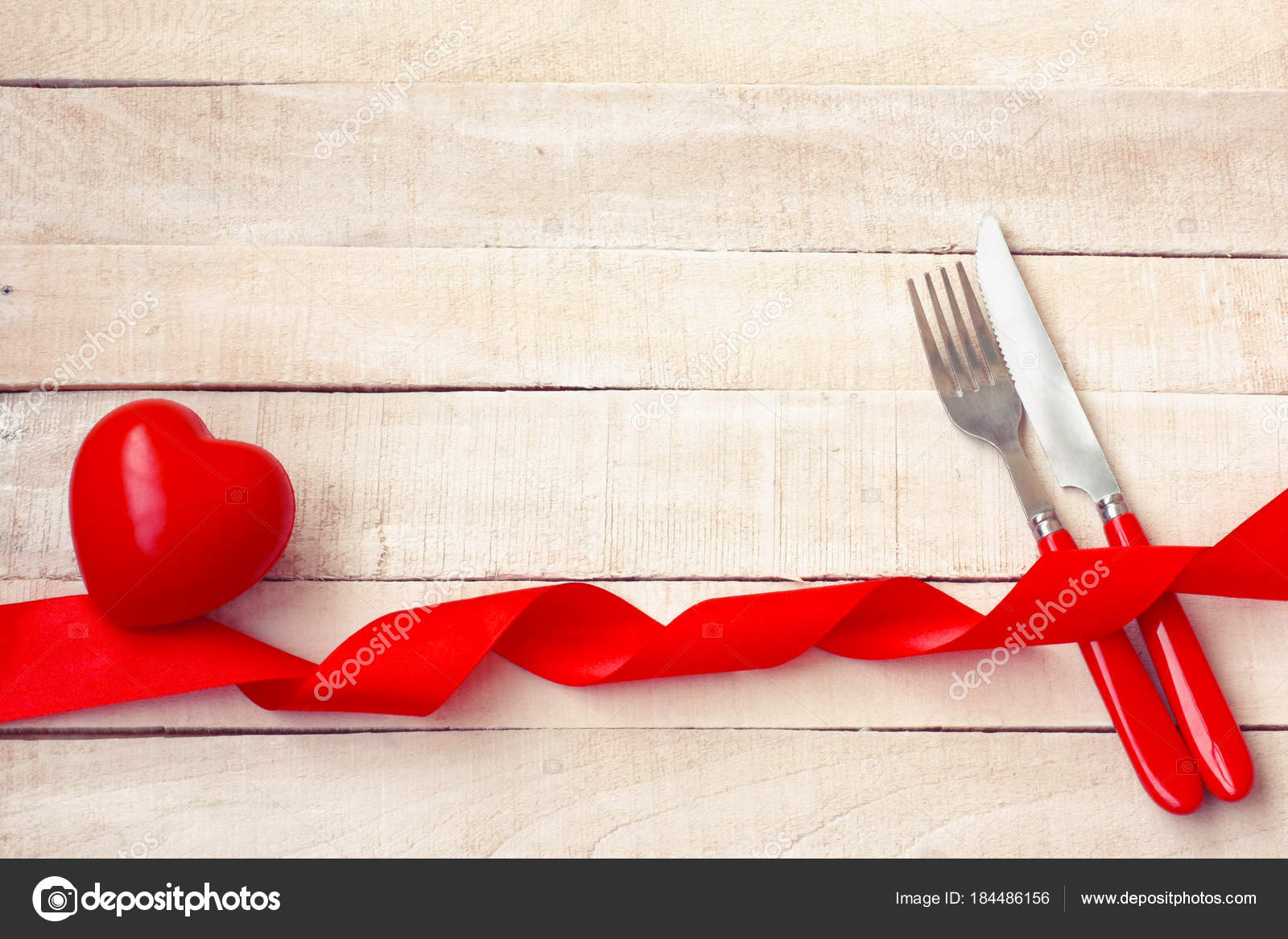 Valentines Day Background Holiday Dinner Knife Fork Red Hear