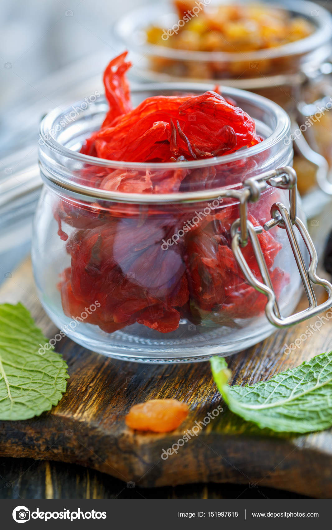 Dried Hibiscus Flowers In A Glass Jar Stock Photo Sriba3 151997618