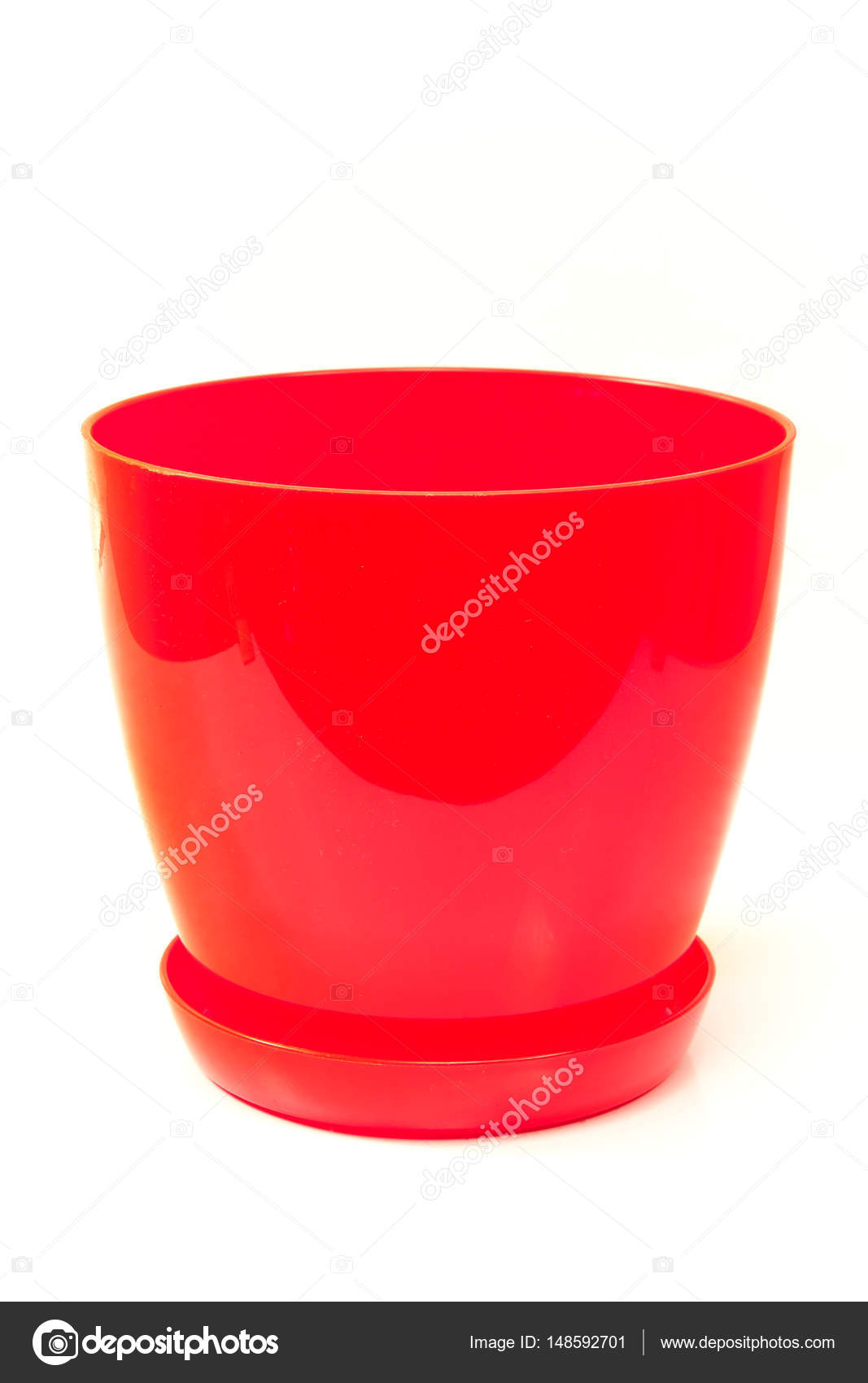 red plastic flower pot isolated on white background — stock photo