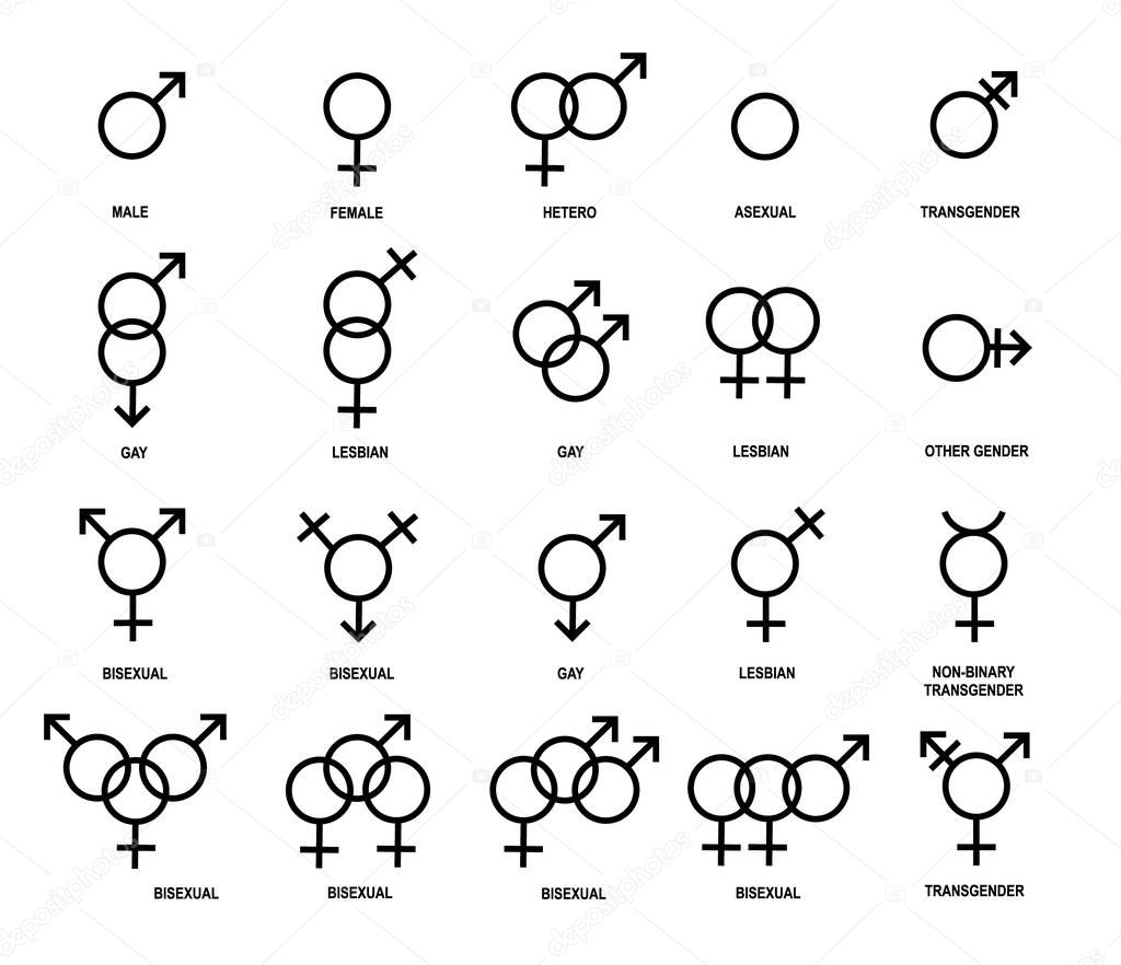 Gender symbols. stock vector. Illustration of family ...
