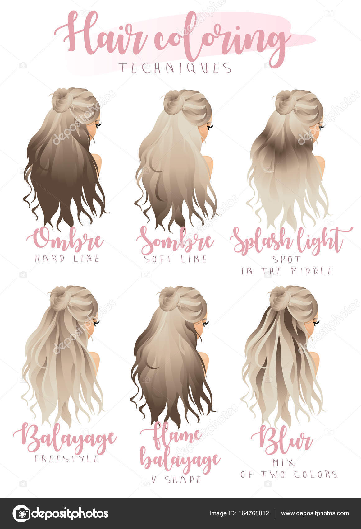hair coloring techniques — Stock Vector © Meon #164768812