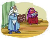 Photo Christmas Story. Zechariah gives the Name of his Son John.