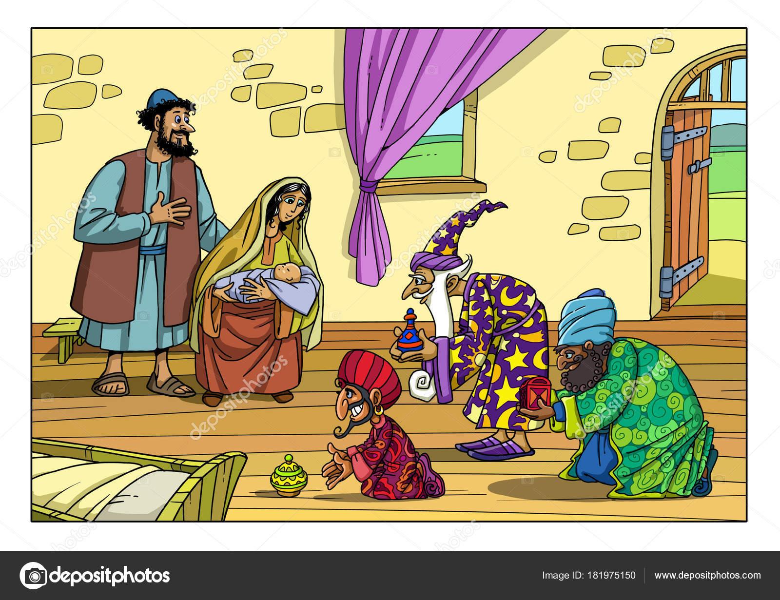 Weihnachtsgeschichte. Drei weisen brachten dem Jesuskind Geschenke ...
