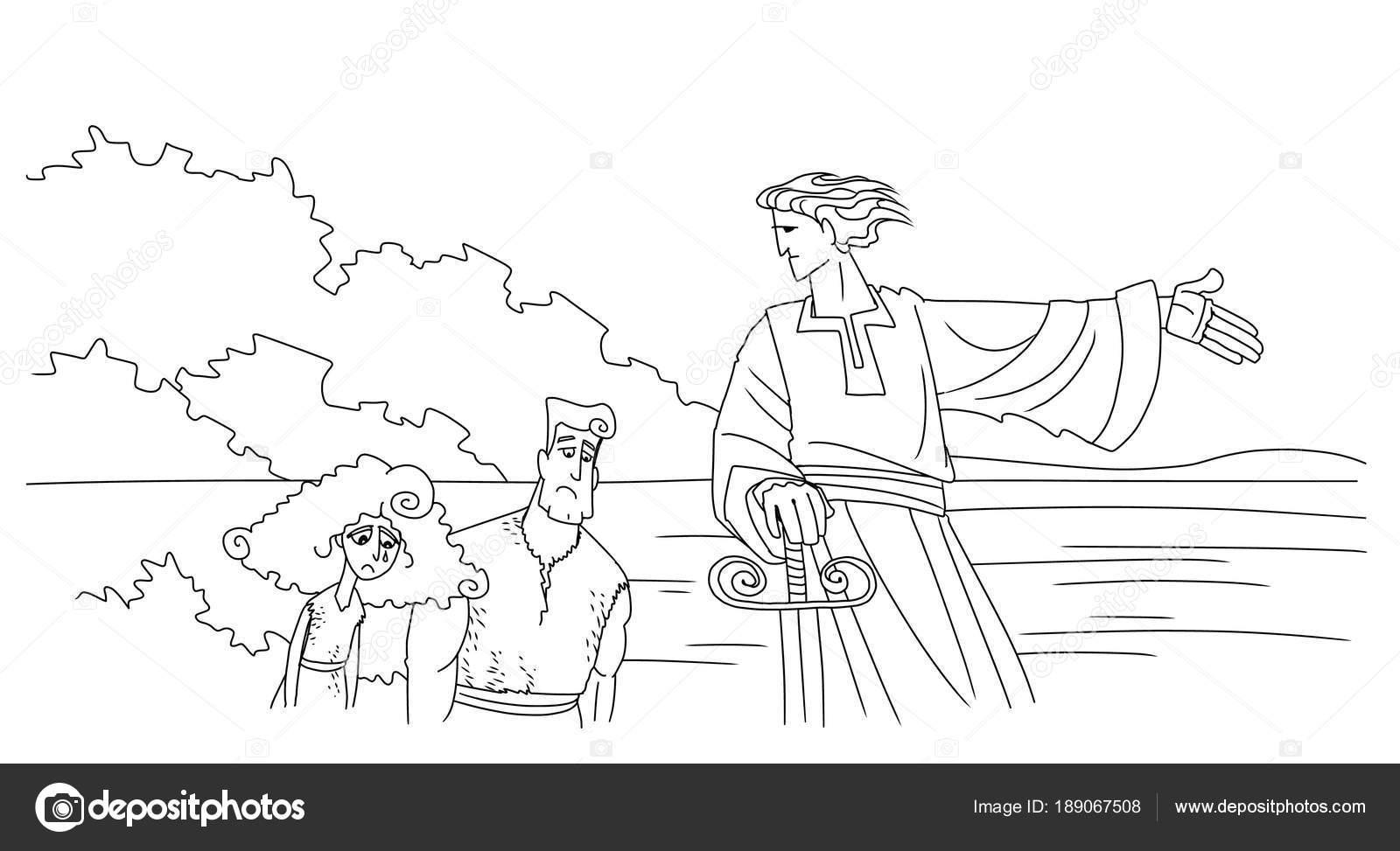 Ángel expulsa a Adán y Eva del Edén — Fotos de Stock © askib #189067508
