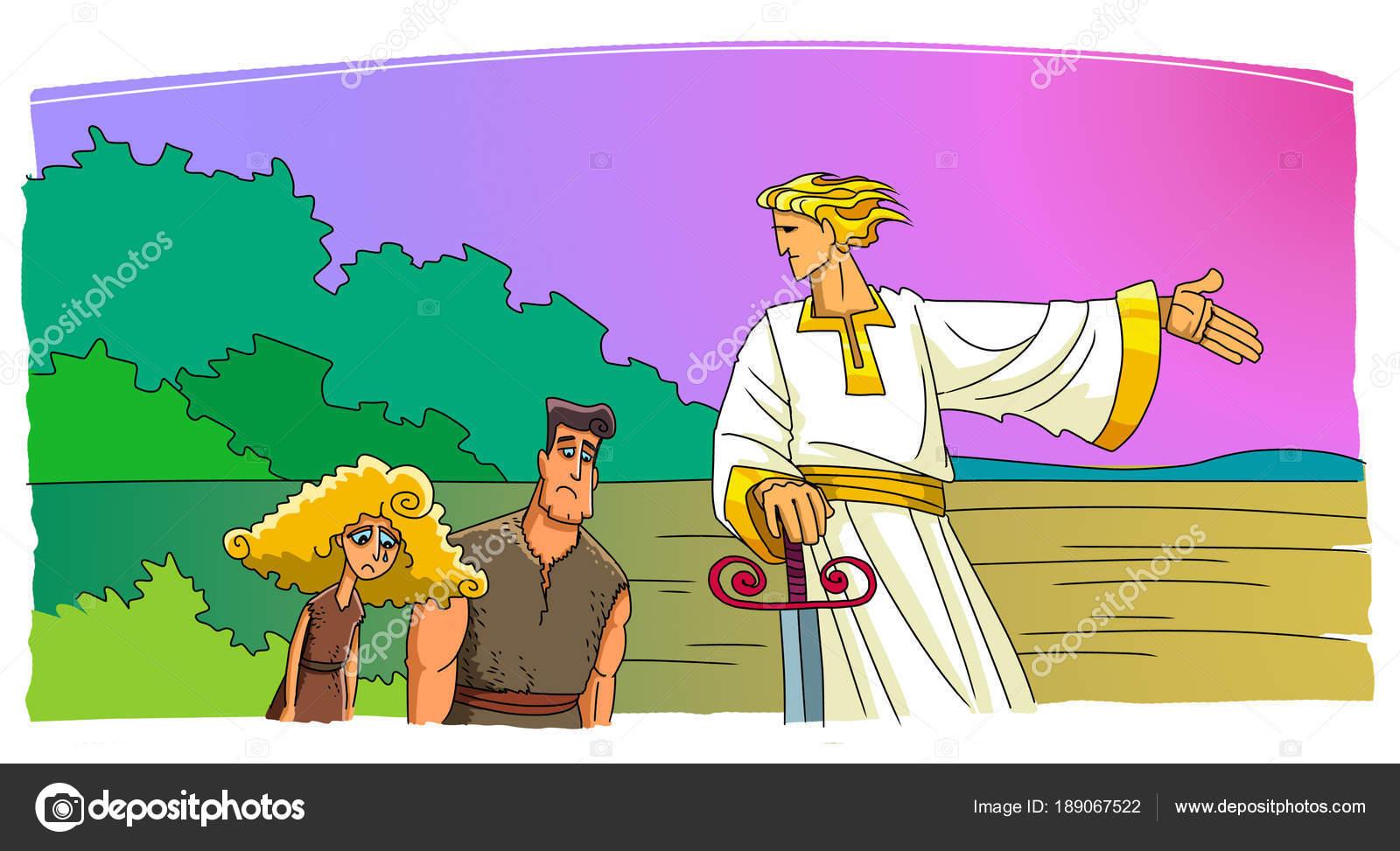 Ángel expulsa a Adán y Eva del Edén — Fotos de Stock © askib #189067522