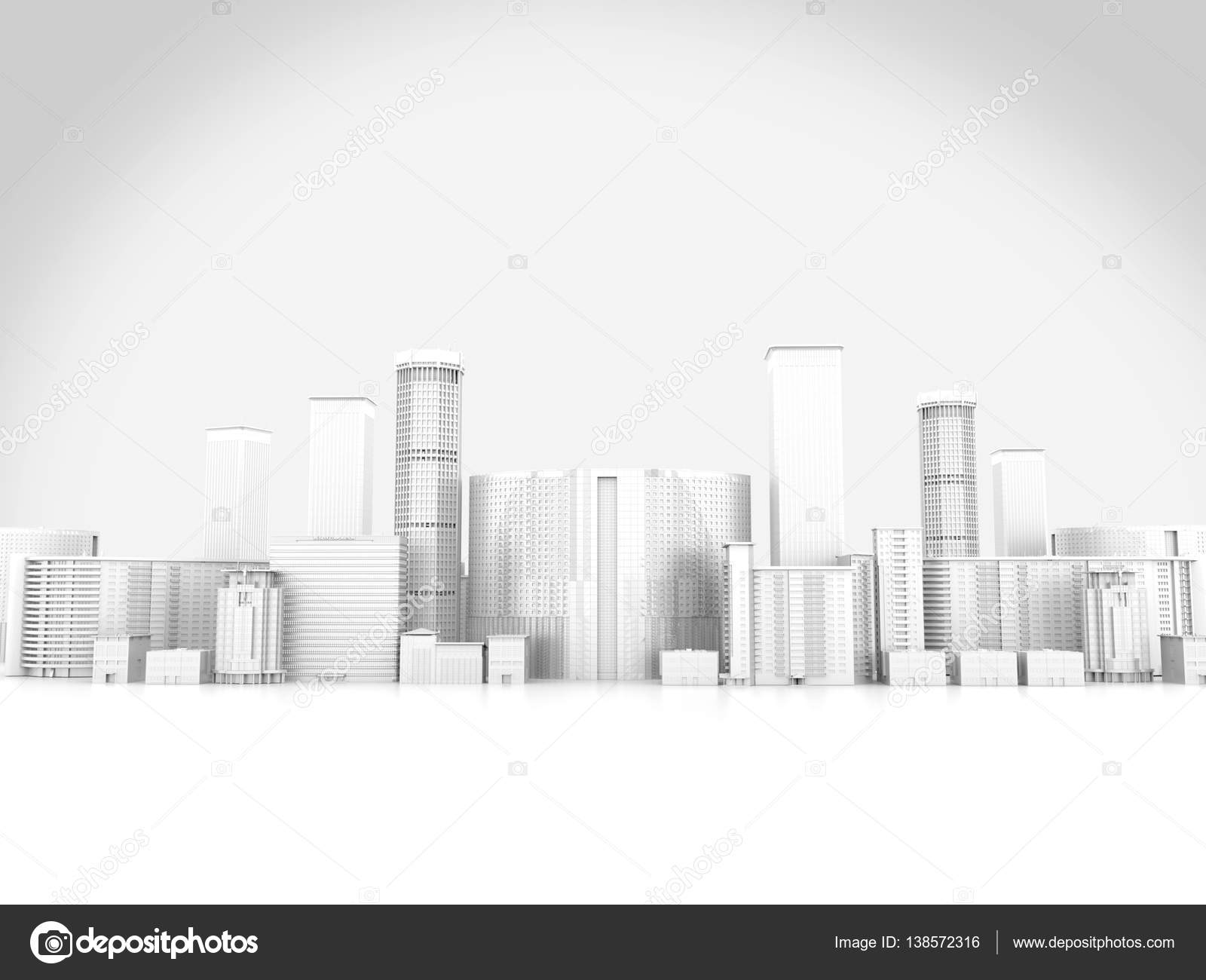 abstract city in white background 3d rendering stock photo