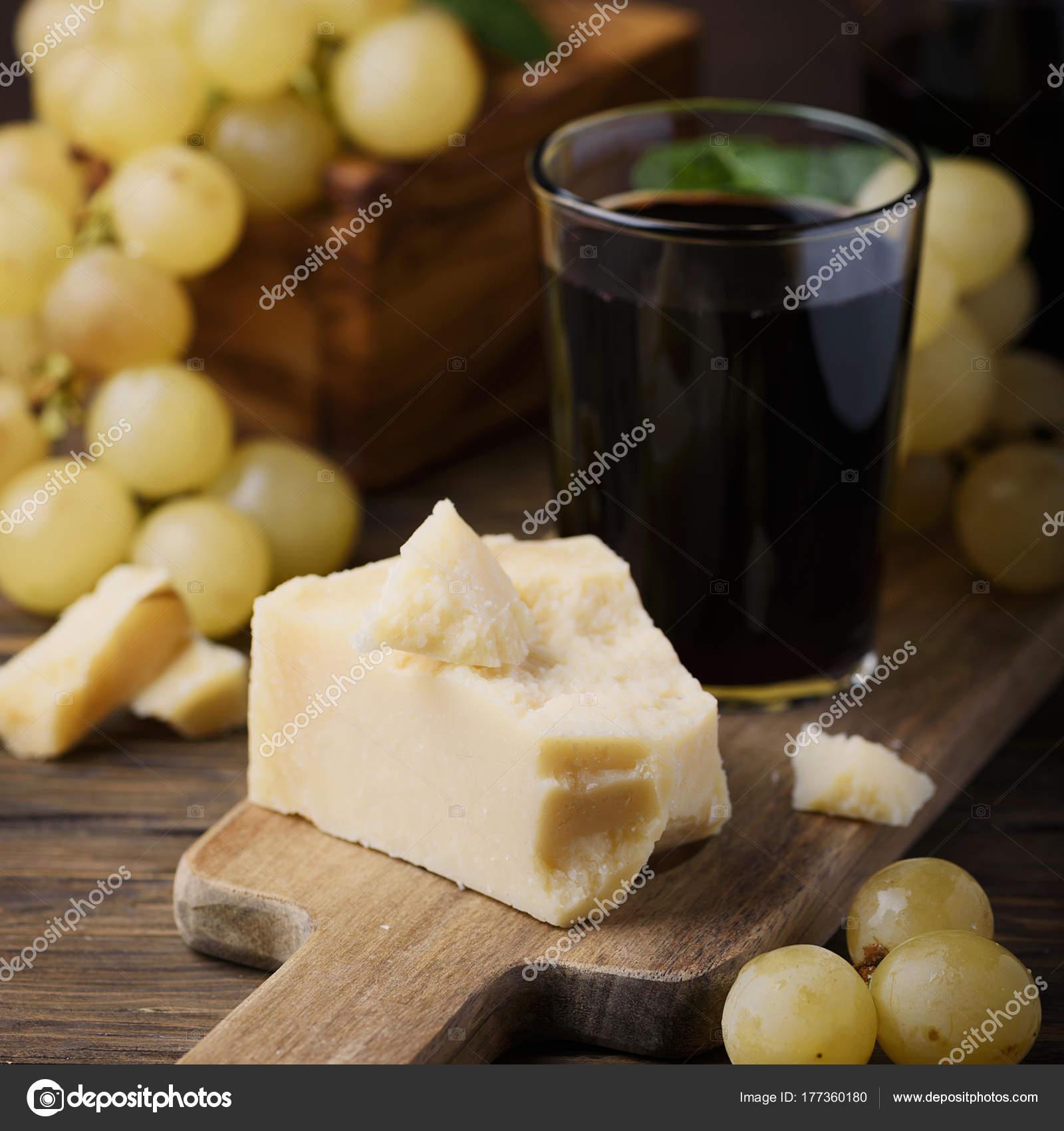 Concept Van Italiaans Eten Met Wijn Druivenmost Kaas Vierkant