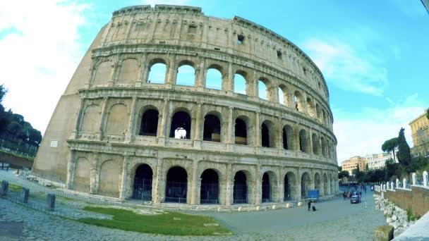 View of ancient Colosseum in sunny day