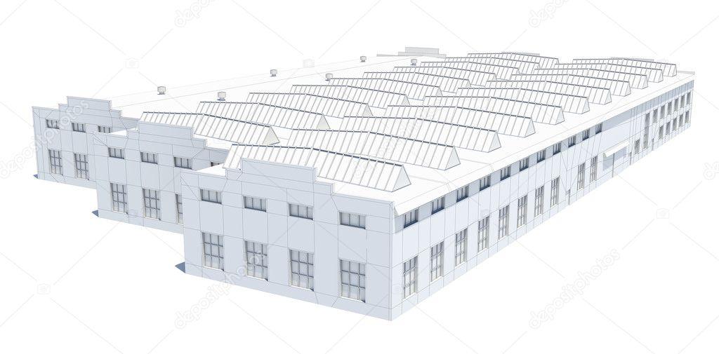 Hangar-Gebäude. Weißer Draht-Rahmen — Stockfoto © cherezoff #126763888