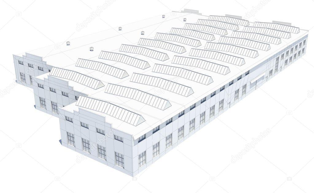 Hangar-Gebäude. Weißer Draht-Rahmen — Stockfoto © cherezoff #127295832