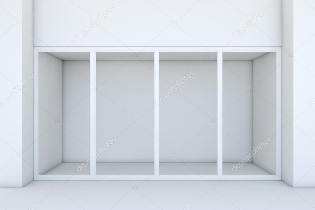 Vitrine avec de grandes fenêtres. Façade de magasin blanc ... 7f0279475bd9