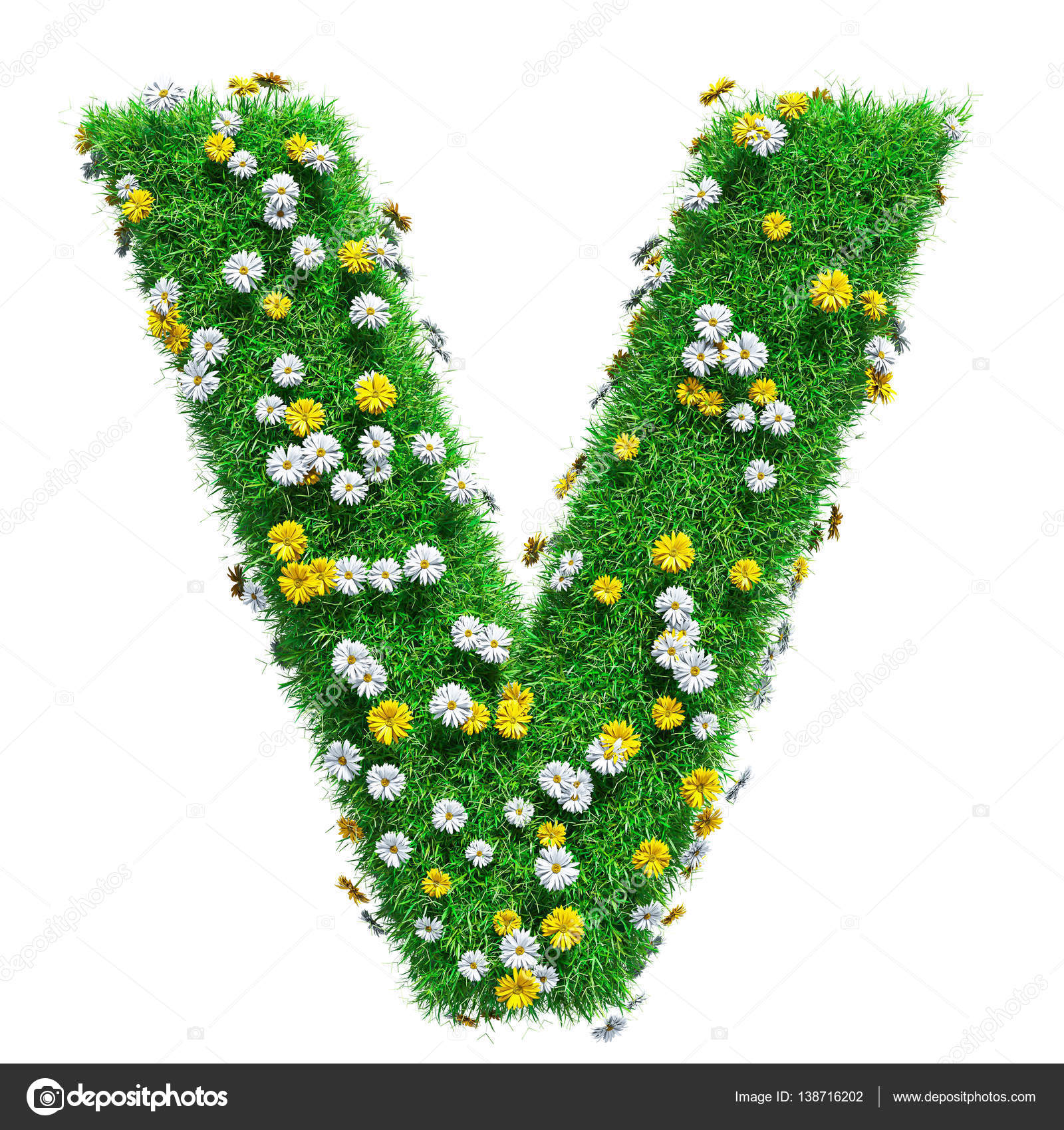 Letter v of green grass and flowers stock photo cherezoff 138716202 letter v of green grass and flowers stock photo thecheapjerseys Gallery