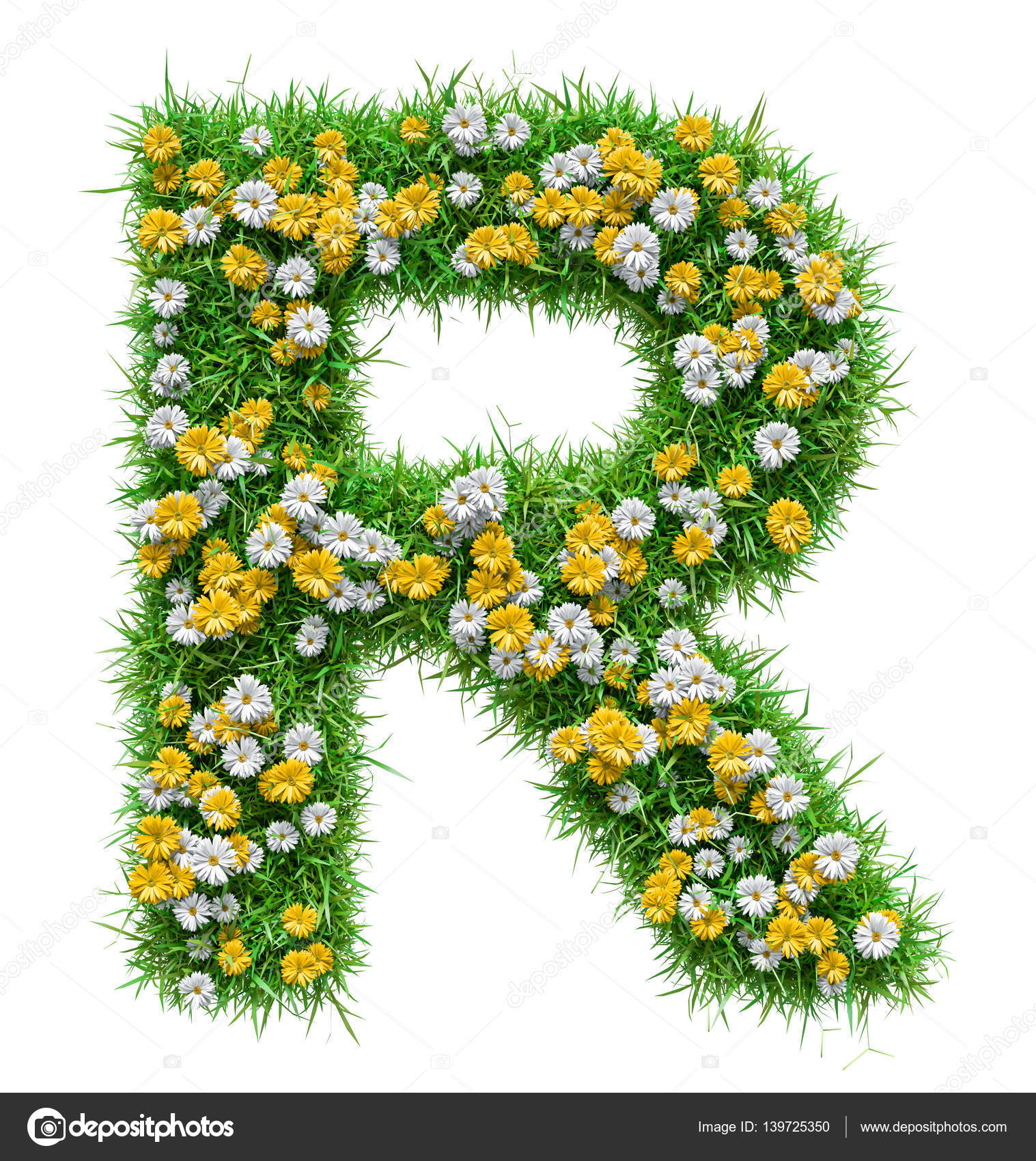 Letter r of green grass and flowers stock photo cherezoff 139725350 letter r of green grass and flowers stock photo altavistaventures Gallery