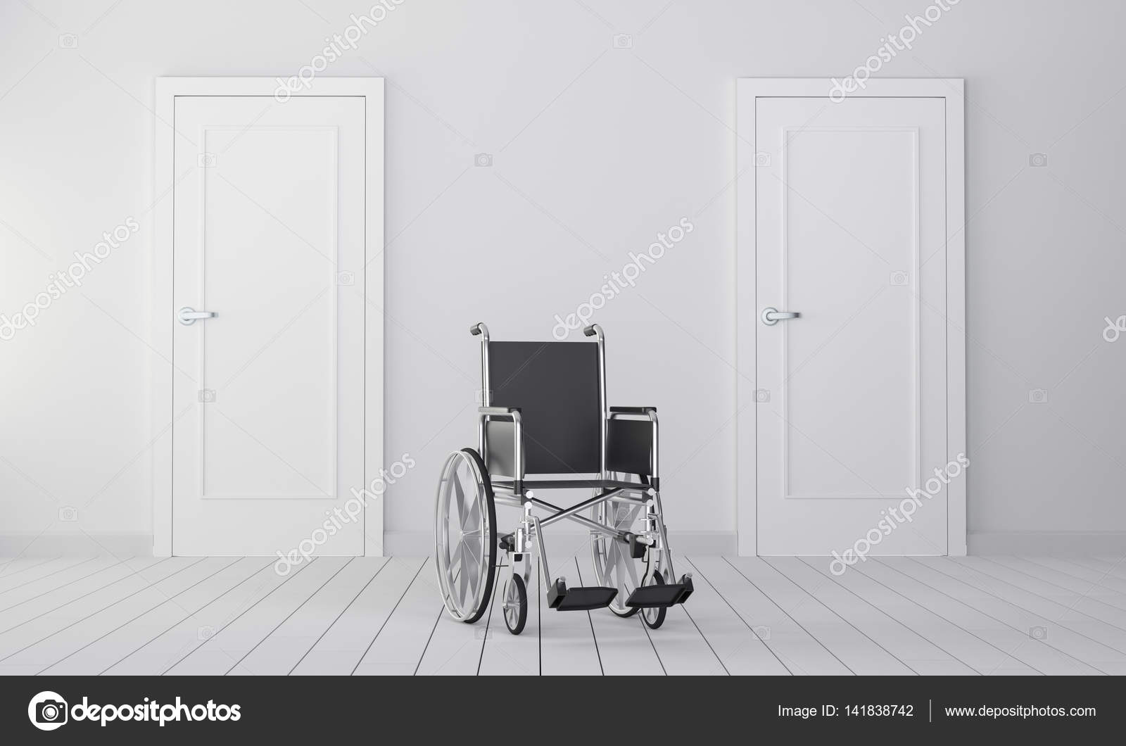 Wheelchair in room with two closed door u2014 Stock Photo & Wheelchair in room with two closed door u2014 Stock Photo © cherezoff ...