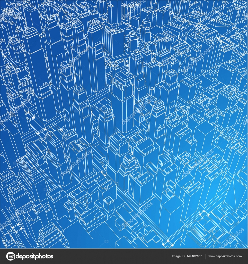 Wire frame city blueprint style vector stock vector cherezoff wire frame city blueprint style 3d rendering vector illustration architecture design background vector by cherezoff malvernweather Choice Image