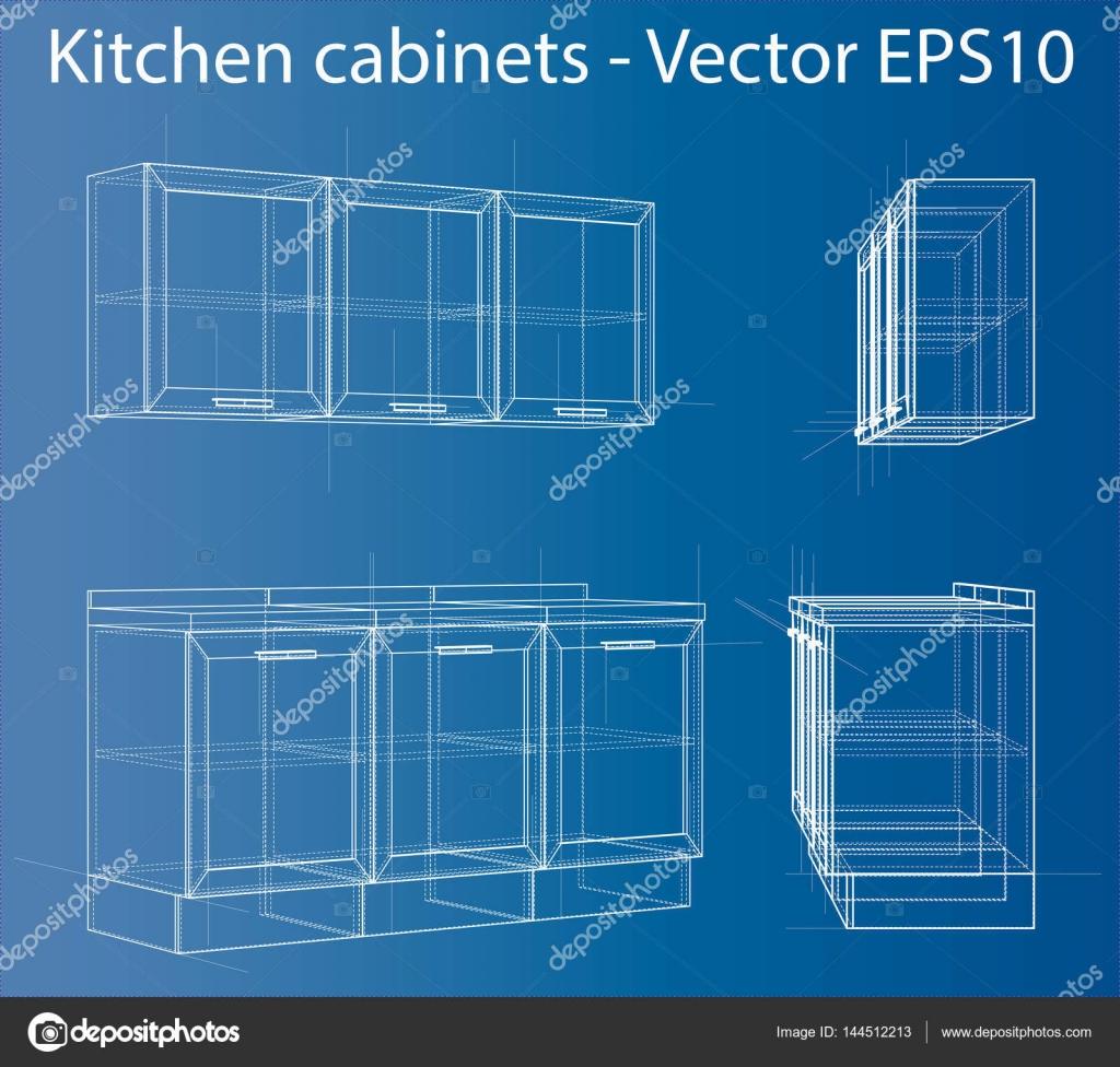 Diseño y fabricación de muebles de cocina — Vector de stock ...
