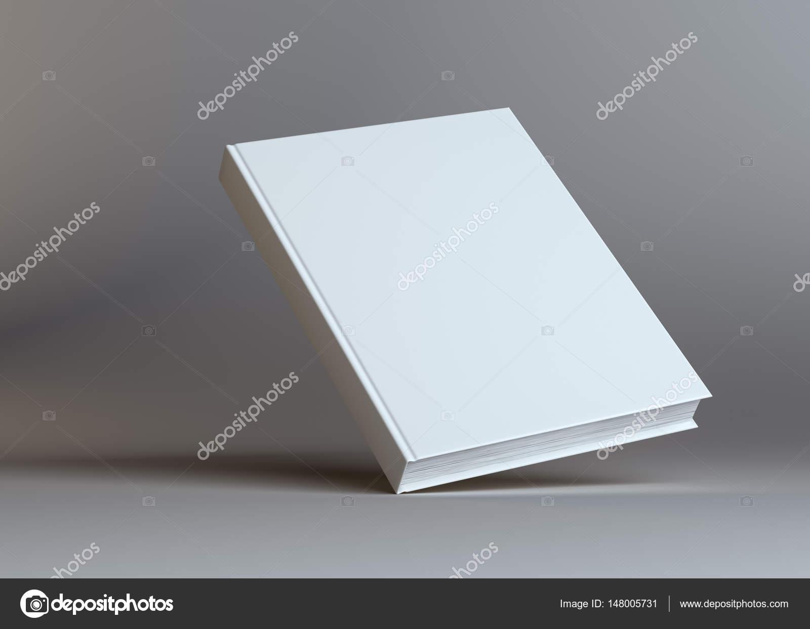 Livre Vide Blanc Sur Fond Gris Studio Photographie