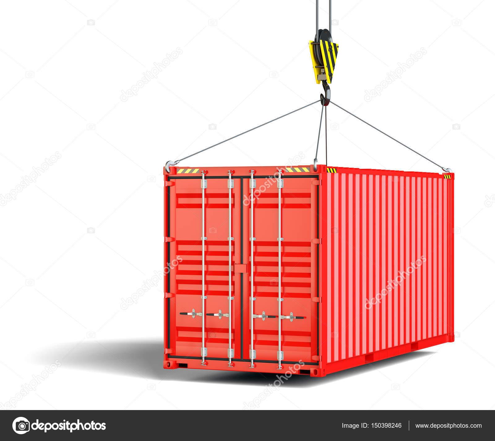 un conteneur d exp dition se bloque sur le crochet de levage photographie cherezoff 150398246. Black Bedroom Furniture Sets. Home Design Ideas