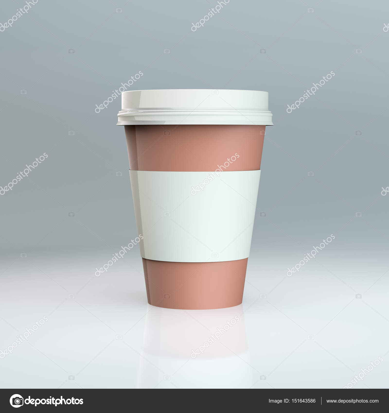 Plastik Kaffee Tasse Vorlagen. 3D illustration — Stockfoto ...