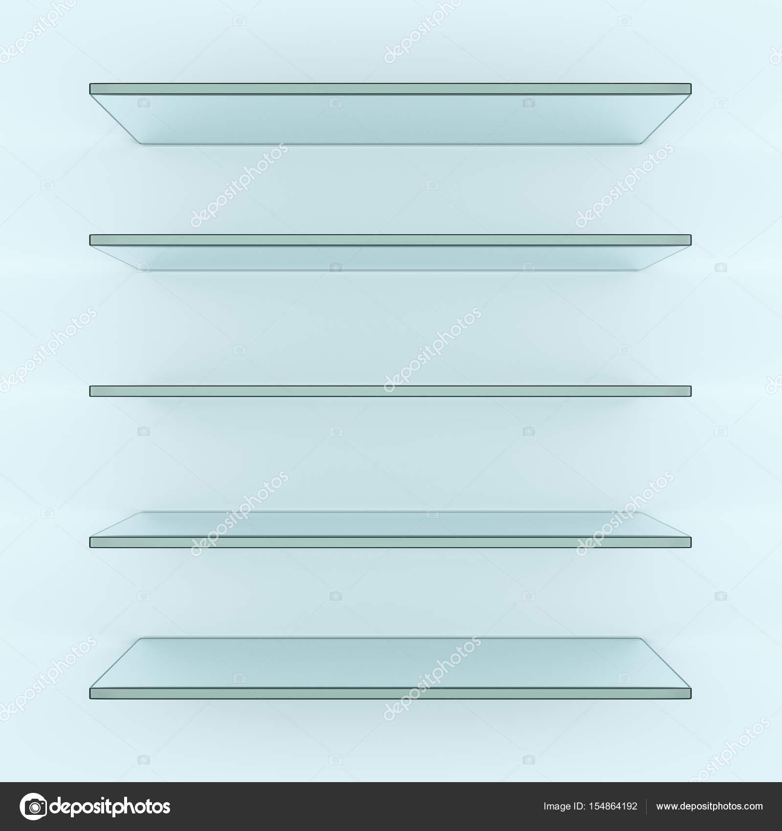 Five alike glass shelves on white wall — Stock Photo © cherezoff ...