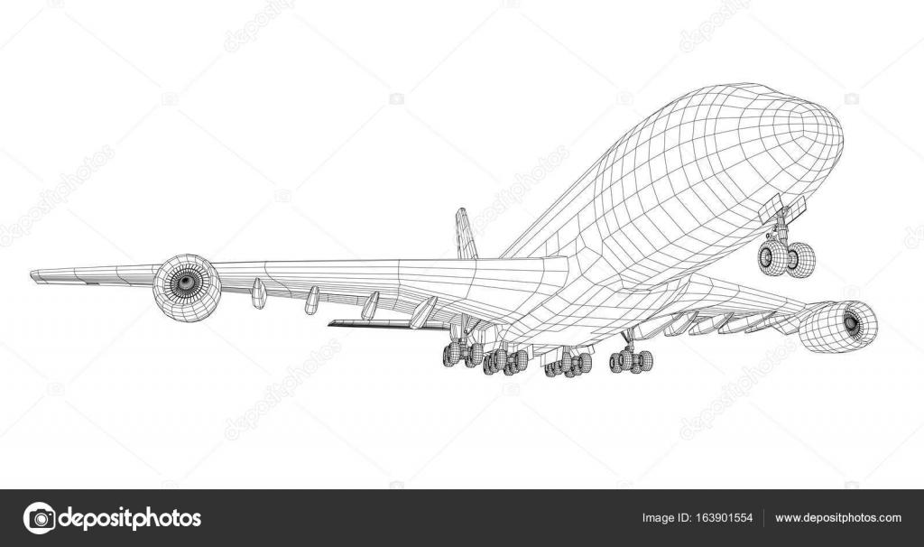 Avión en el estilo de marco de alambre — Archivo Imágenes ...